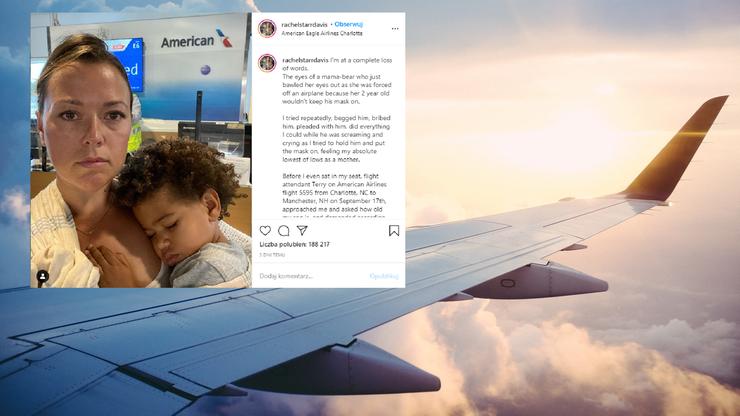 Wszyscy pasażerowie musieli opuścić samolot. 2-latek nie miał maseczki